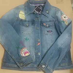 Nanette lepore whimsy wash, patch denim jacket NWT